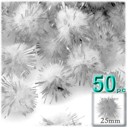 Pom Pom, 25mm-, 50-pc, White
