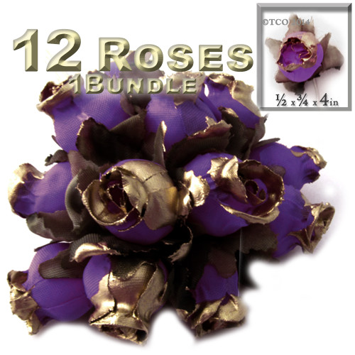 Artificial flowers, Gold Dipped Tips, Tulips, 0.5-inch, 12-pc Purple with gold tips
