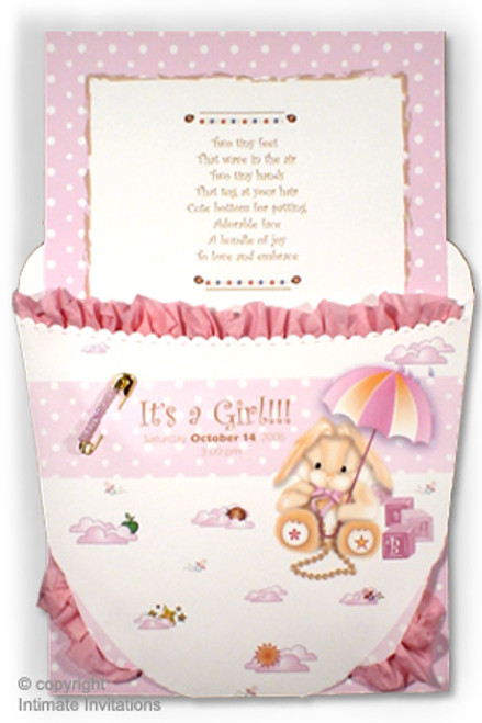Baby Diaper Invitation; Pink With Carousel Theme