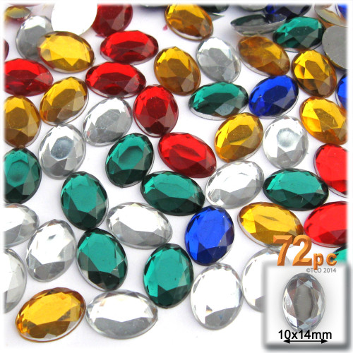 Rhinestones, Flatback, Oval, 10x14mm, 72-pc, Mixed Colors