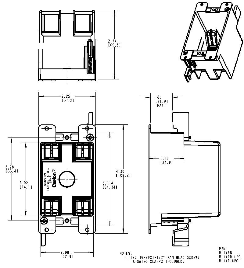 Carlon B114r Upc Old Work Nonmetallic Box Single Gang W