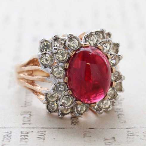 Vintage Jewelry Ruby Cabochon Crystal Stone and Clear Crystal Cocktail Ring in 18kt Yellow Gold Electroplate Made in the USA