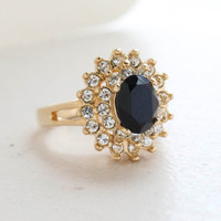 Vintage Jewelry Black Cubic Zirconia and Clear Austrian Crystals Cocktail Ring in 18kt Yellow Gold Electroplate Made in the USA