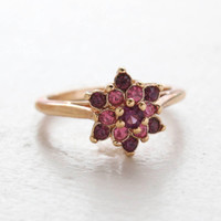 Vintage Rose and Amethyst Swarovski Crystal Star Ring 18k Yellow Gold Electroplate Made in the USA