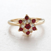 Vintage Ruby and Clear Swarovski Crystal Star Ring 18k Yellow Gold Electroplated Made in the USA