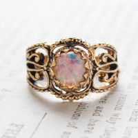 Vintage Jewelry Harlequin Opal Ring 18kt Gold Antiqued Plating Made in the USA