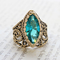 Vintage Ring Blue Zircon Swarovski Crystal Antiqued 18k Yellow Gold Electroplated Filigree Edwardian Style Made in the USA