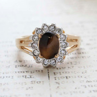 Vintage Jewelry Genuine Tiger Eye Surrounded by Clear Austrian Crystals Ring Made in the USA