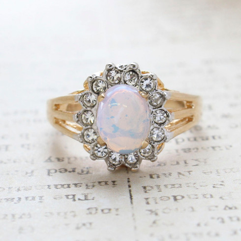 Vintage Jewelry Pinfire Opal Surrounded by Clear Austrian Crystals Birthstone Ring Made in the USA