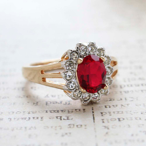 Vintage Jewelry Ruby CZ Surrounded by Clear Austrian Crystals Birthstone Ring Plated in 18kt Yellow Gold Electroplate Made in the USA