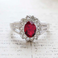 Vintage Jewelry Ruby CZ Surrounded by Clear Austrian Crystals Birthstone Ring Made in the USA