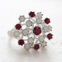 Vintage Ring Ruby Swarovski Crystals and Pinfire Opals 18k White Gold Electroplate Made in the USA