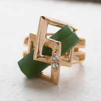 Vintage Retro Glass Jade and Clear Swarovski Crystals 18k Yellow Gold Electroplated Cocktail Ring Made in USA