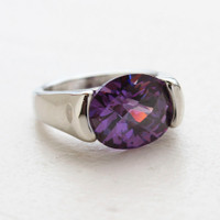 Vintage Jewelry Amethyst Swarovski Crystal Ring 18k White Gold Electroplated Ring Made in USA