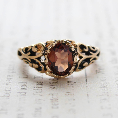 Vintage Topaz Crystal Ring 18k Gold Electroplated Birthstone Ring Made in USA