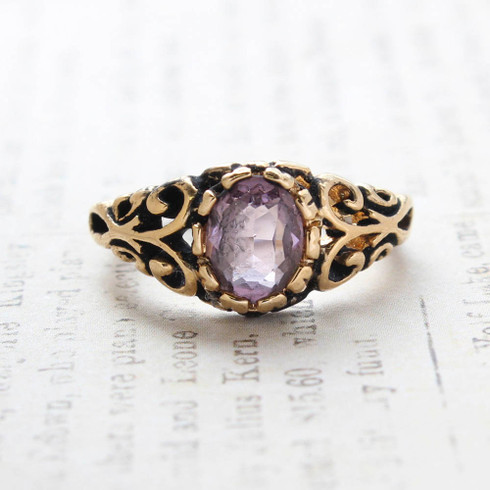Vintage Light Amethyst Crystal Ring 18k Gold Electroplated Birthstone Ring Made in USA