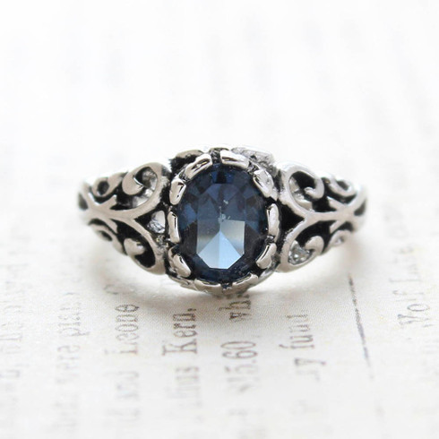 Vintage Sapphire Crystal Ring 18k Antiqued White Gold Electroplated Birthstone Ring Made in USA