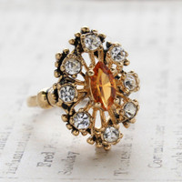 Vintage Ring Light Topaz Cz Surrounded by Clear Austrian Crystals Cocktail Ring or Birthstone Ring 18kt Antiqued Gold Electroplated Made in America