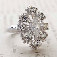 Vintage Ring Clear Cz Surrounded by Clear Austrian Crystals Cocktail Ring or Birthstone Ring 18kt White Gold Electroplated Made in America