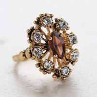 Vintage Ring Brown Topaz Cz Surrounded by Clear Austrian Crystals Cocktail Ring or Birthstone Ring 18kt Antiqued Gold Electroplated Made in America