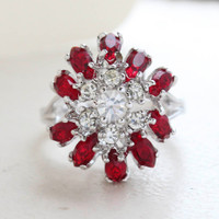 Vintage Jewelry Ruby and Clear Austrian Crystals Cocktail Ring in 18kt White Gold Electroplate Made in the USA