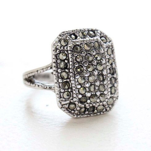 Women's Jewlery Vintage Rings Antiqued Genuine Marcasite Pavé Ring Made in the USA