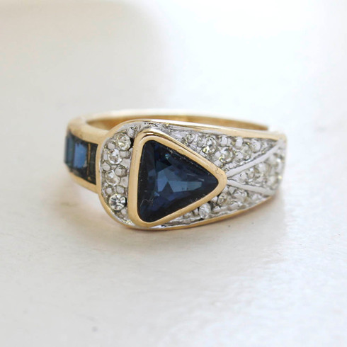 Vintage Jewelry Sapphire and Clear Crystal Pavé Ring Made in the USA