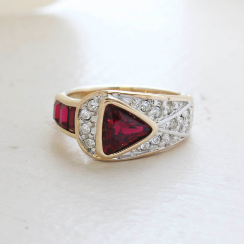 Vintage Jewelry Ruby and Clear Crystal Pavé Ring Made in the USA
