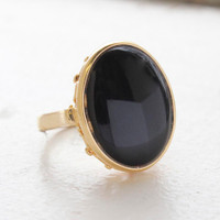 Vintage Jewelry Faux Onyx Stone Set in 18kt Gold Electroplated Setting  Made in USA