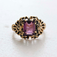 Vintage Ring Emerald Cut Amethyst Cz 18kt Antiqued Yellow Gold Plated Filligre Ring Made in the USA February Birthstone