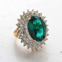 Vintage Jewelry Emerald Cubic Zirconia and Clear Crystal Cocktail Ring in 18kt Gold Electroplate Made in the USA