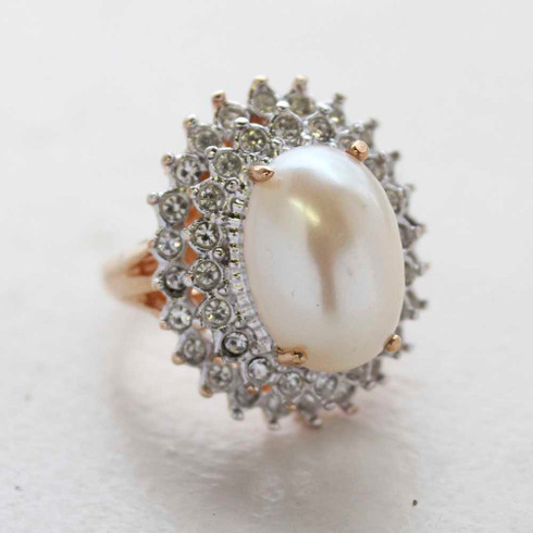 Vintage Jewelry Pearl and Clear Crystal Cocktail Ring in 18kt Gold Electroplate Made in the USA
