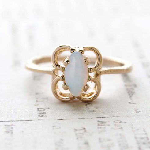 Vintage Jewelry Pinfire Lab Opal Cocktail Ring Plated in 18k Gold Electroplate October Birthstone Made in the USA