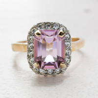 Vintage Jewelry 18k Yellow Gold Plated Light Amethyst CZ Cocktail Ring Made in the USA