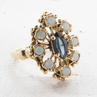 Vintage Ring Sapphire Crystal Surrounded by Pinfire Opals Cocktail Ring 18kt Antiqued Yellow Gold Electroplated Made in the USA
