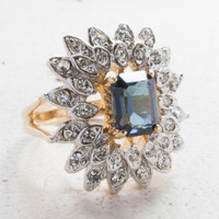 Vintage Ring Sapphire Crystal Surrounded by Clear Crystal Cocktail Ring 18kt Antiqued Yellow Gold Electroplated Made in the USA