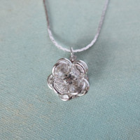 Vintage Flower Pendant Clear Crystals 18k White Gold Electroplated