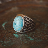 Vintage 1980's Men's Ring Turquoise Bead Antiqued 18k White Gold Electroplated Ring Made in USA
