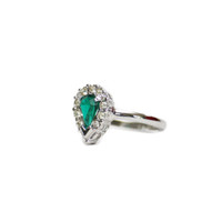Vintage Teardrop Emerald and Clear Swarovski Crystals 18k White Gold Electroplated Made in USA