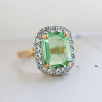 Vintage Ring Peridot and Clear Swarovski Crystals 18k Yellow Gold Electroplated Ring
