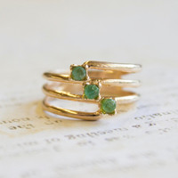 Vintage Ring 1980s Genuine Emeralds 18k Gold Electroplated Ring Made in USA