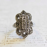Vintage Ring Genuine Marcasite Antiqued 18k White Gold Electroplated Made in USA