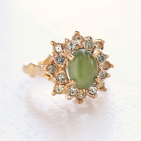 Vintage Ring Genuine Jade surrounded with Swarovski Crystals 18k Yellow Gold Electroplated Made in USA
