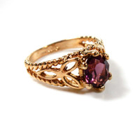 Vintage Ring Amethyst Swarovski Crystal 18k Gold Electroplated Filigree Ring Made in USA #R300