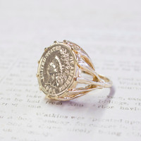 Vintage Indian Head Penny Ring 18k Gold Electroplated Edwardian Style Made in USA