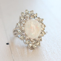 Vintage Genuine Opal Ring Clear Swarovski Crystals 18k White Gold Electroplated Made in USA