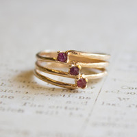 Vintage Genuine Ruby 18k Yellow Gold Electroplated Ring Made in USA #R976
