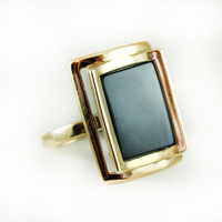 Vintage Genuine Onyx Rectangle 18k Yellow Gold Electroplated Made in USA #R327