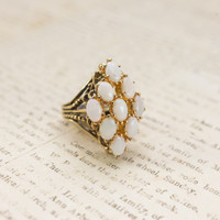 Vintage Genuine Opals Antiqued 18k Yellow Gold Electroplated Cocktail Ring Made in USA