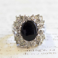 Vintage Genuine Onyx Ring with Clear Swarovski Crystals 18k White Gold Plated Made in USA